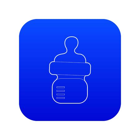 Baby bottle with milk icon blue vector isolated on white background