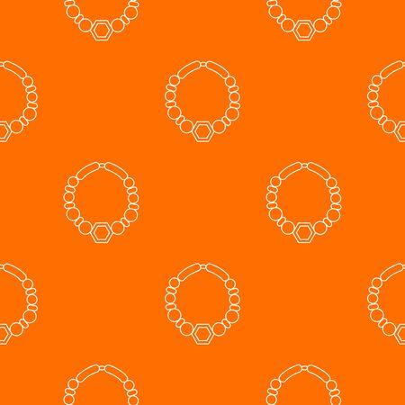 Pearl necklace pattern vector orange