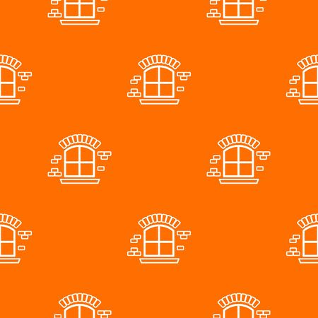 Small window frame pattern vector orange  イラスト・ベクター素材