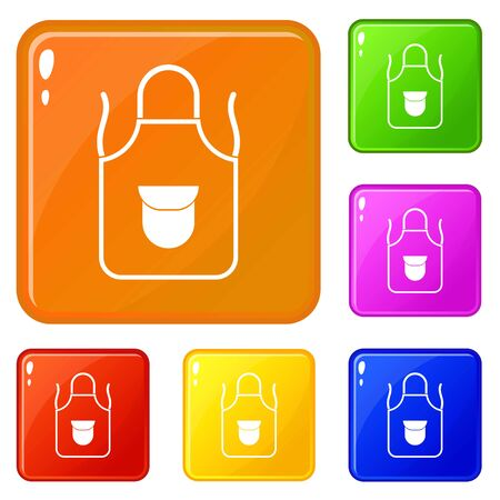 Apron with pocket icons set collection vector 6 color isolated on white background 일러스트