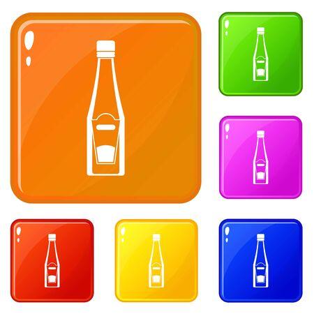 Bottle of ketchup icons set vector color Illustration