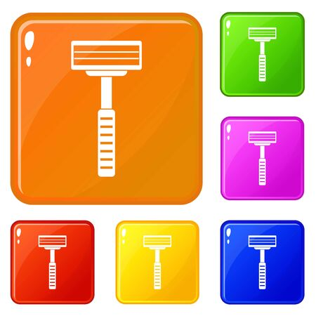 Razor icons set collection vector 6 color isolated on white background