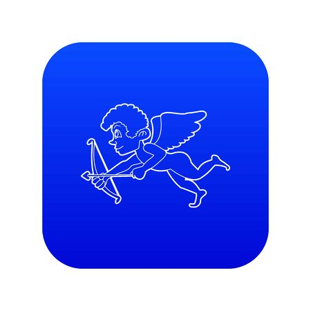Cupid icon blue vector isolated on white background