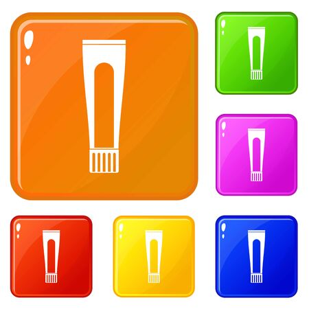 Toothpaste tube icons set collection vector 6 color isolated on white background Stock Illustratie