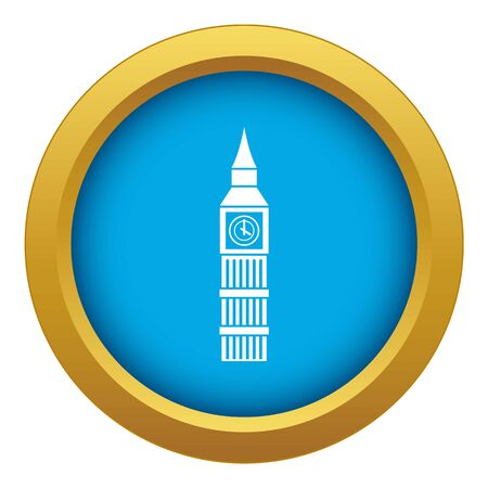 Big Ben clock icon blue vector isolated on white background for any design  イラスト・ベクター素材
