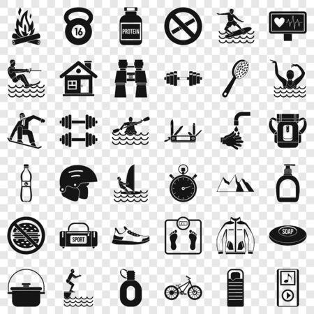 Sportsman icons set, simple style Illustration