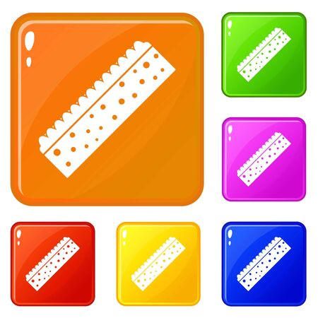 Sponge for cleaning icons set collection vector 6 color isolated on white background 矢量图像