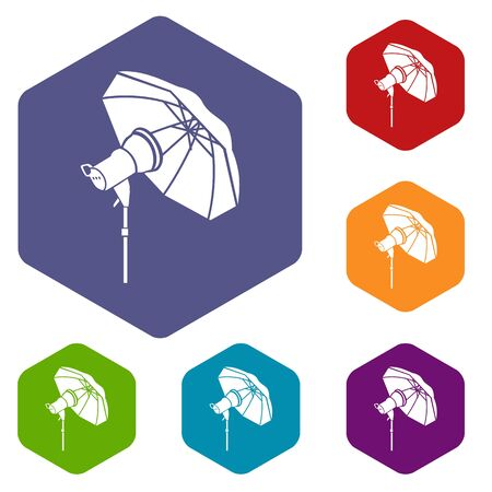 Studio flash with umbrella icon in simple style on a white background