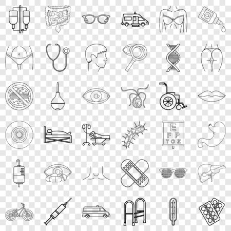 Thermometer icons set, outline style