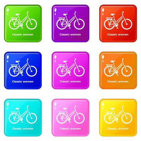 Classic women bike icons set 9 color collection isolated on white for any design