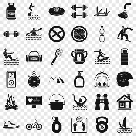 Human health icons set, simple style