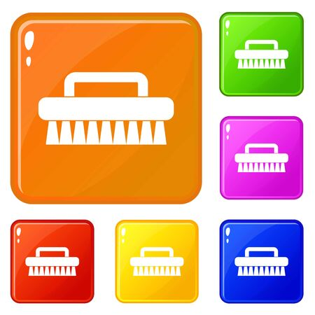 Cleaning brush icons set collection vector 6 color isolated on white background Ilustração