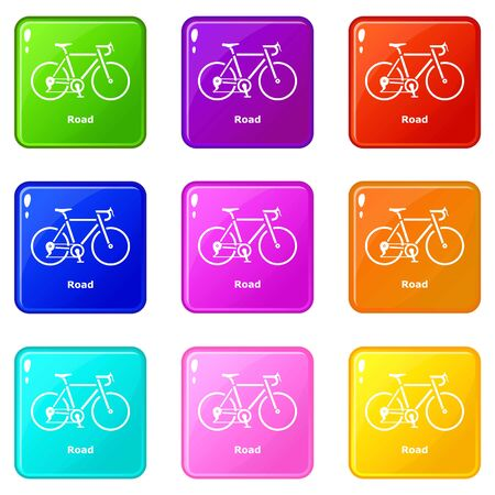 Road bike icons set 9 color collection