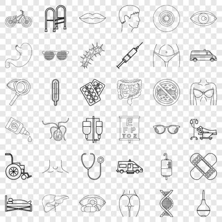 Hospital icons set, outline style Vektoros illusztráció