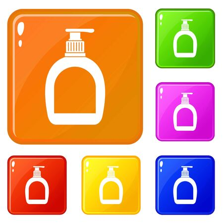 Bottle with liquid soap icons set collection vector 6 color isolated on white background