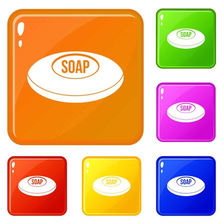 Soap icons set collection vector 6 color isolated on white background Çizim