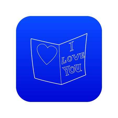 Postcard I love you icon blue vector isolated on white background