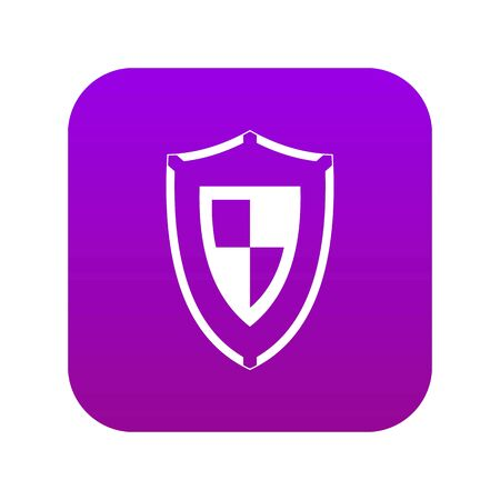 Shield icon digital purple for any design isolated on white vector illustration Vetores