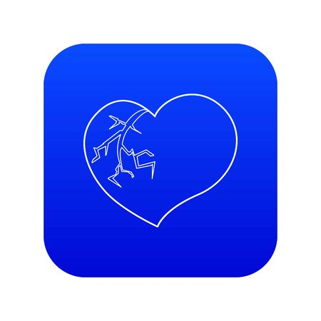 Broken heart icon blue vector isolated on white background Фото со стока - 130255301