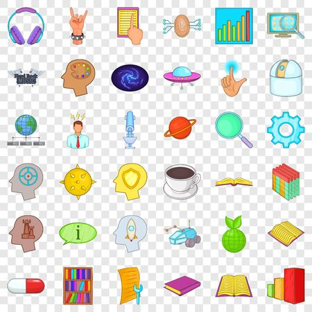 Brain icons set, cartoon style