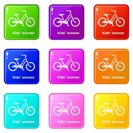Kids women bike icons set 9 color collection isolated on white for any design Illustration