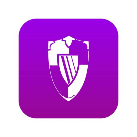 Shield icon digital purple for any design isolated on white vector illustration