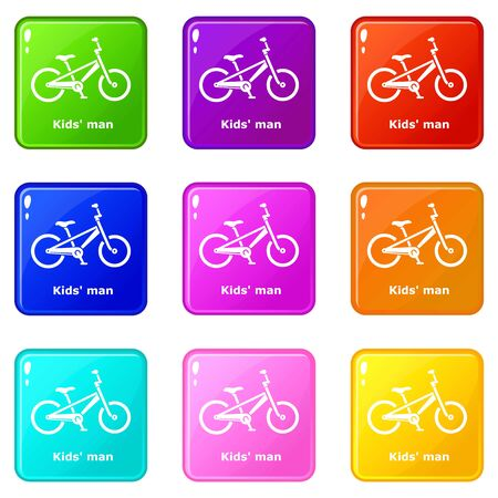 Kids man bike icons set 9 color collection isolated on white for any design