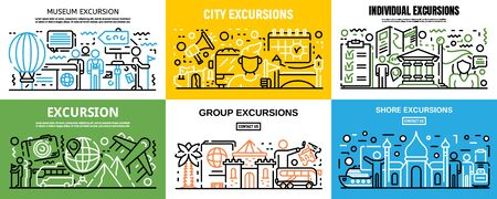 Excursion banner set, outline style