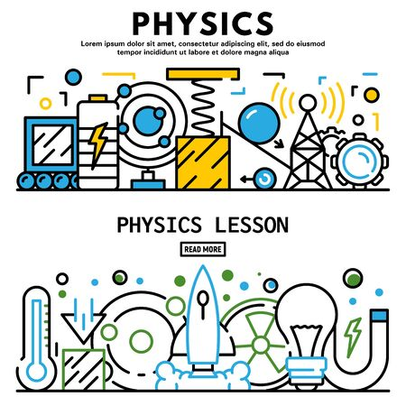 Physics lesson banner set, outline style 스톡 콘텐츠