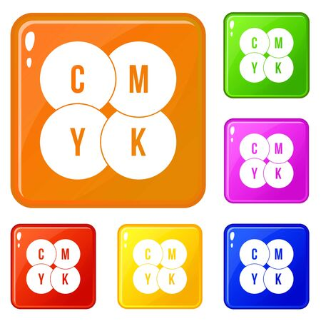 CMYK circles icons set color Reklamní fotografie