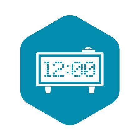 Alarm clock icon, simple style