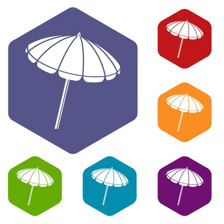 Beach umbrella icons hexahedron Stock Photo