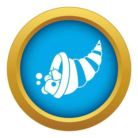 Thanksgiving hoorn des overvloeds pictogram blauw geïsoleerd