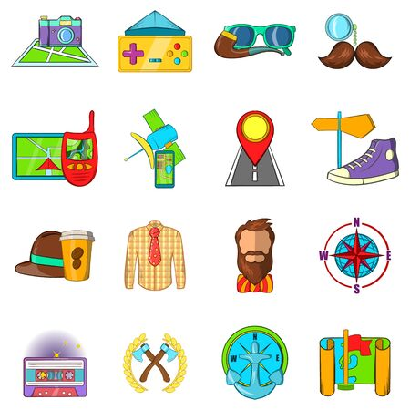 Hipster tour icons set. Cartoon set of 16 hipster tour vector icons for web isolated on white background