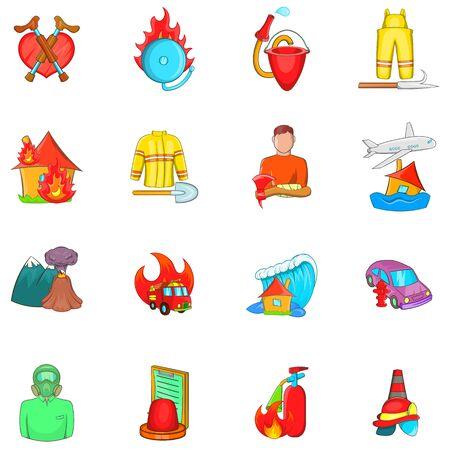 Rescue service icons set, cartoon style Stock Illustratie