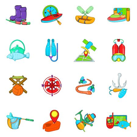 Fishing icons set. Cartoon set of 16 fishing vector icons for web isolated on white background