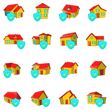 Protect house icons set. Cartoon set of 16 protect house vector icons for web isolated on white background Ilustração