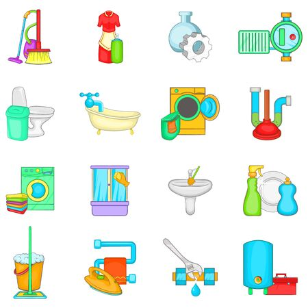 Bathroom icons set. Cartoon set of 16 bathroom vector icons for web isolated on white background