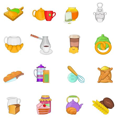 Tea food icons set. Cartoon set of 16 tea food vector icons for web isolated on white background