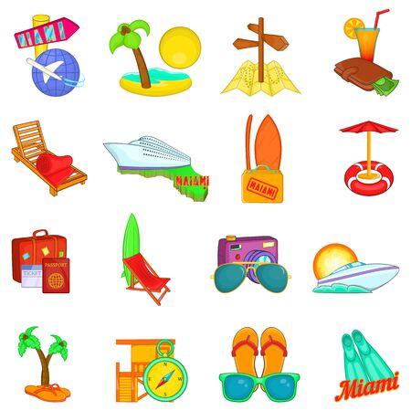 Travel way icons set, cartoon style