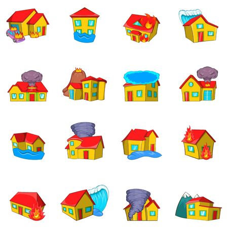 Destroyed house icons set, cartoon style