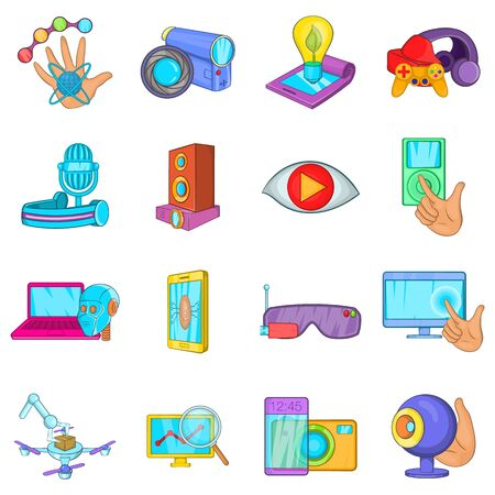 Cyber business icons set. Cartoon set of 16 cyber business vector icons for web isolated on white background Ilustração Vetorial