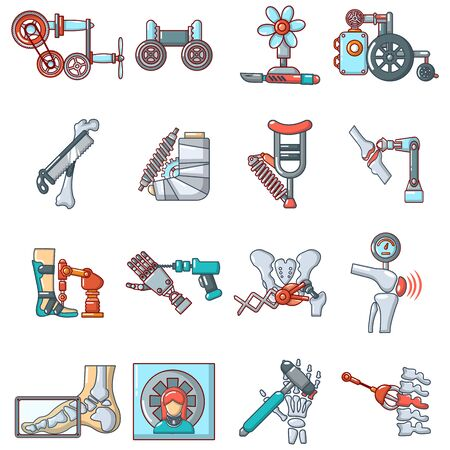 Conjunto de iconos de cirugía moderna. Conjunto de dibujos animados de 16 iconos de vector de cirugía moderna para web aislado sobre fondo blanco Ilustración de vector