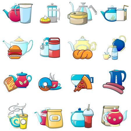 Tea day icons set. Cartoon set of 16 tea day vector icons for web isolated on white background Çizim