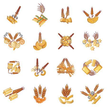 Gluten pasta icons set. Cartoon set of 16 gluten pasta vector icons for web isolated on white background 일러스트