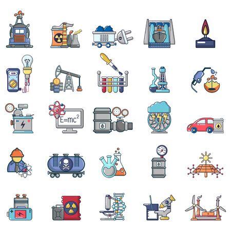 Ensemble d'icônes de carburant naturel, style cartoon Vecteurs