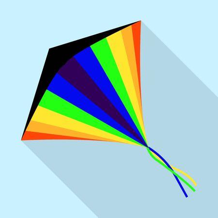 Rainbow kite icon, flat style