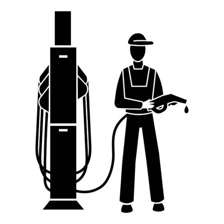 Man petrol station icon. Simple illustration of man petrol station vector icon for web design isolated on white background
