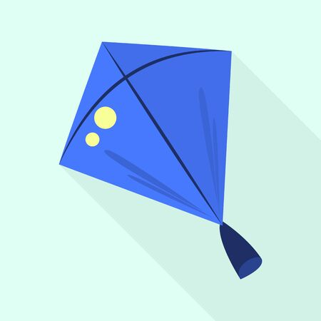 Blue kite icon. Flat illustration of blue kite vector icon for web design