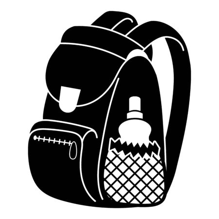 School backpack icon. Simple illustration of school backpack vector icon for web design isolated on white background Stock Illustratie
